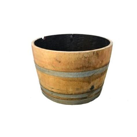 25 In Dia Oak Whiskey Barrel Planter B100 The Home Depot Home Depot Whiskey Barrel Planters