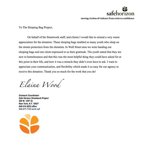 thank you letter to for project appreciation letter from our friends at safehorizon