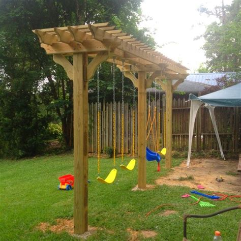 pergola swing set pergola swing set diy i want to do this and plant some