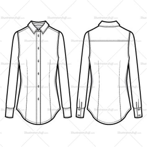 Women S Classic Long Sleeve Button Down Shirt Fashion Flat Template Illustrator Stuff Fashion Flats Template