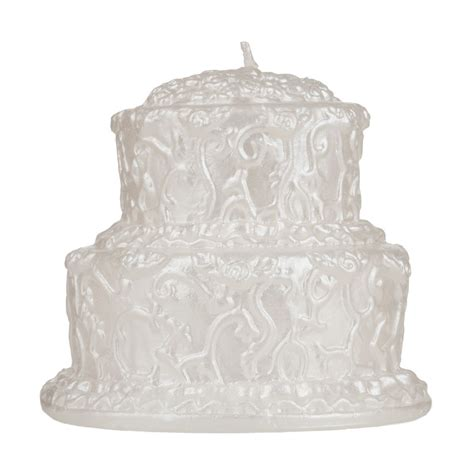 Wedding Cake Candle two tier white wedding cake candle decorated two levels
