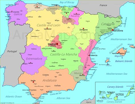 spain map map of spain annamap