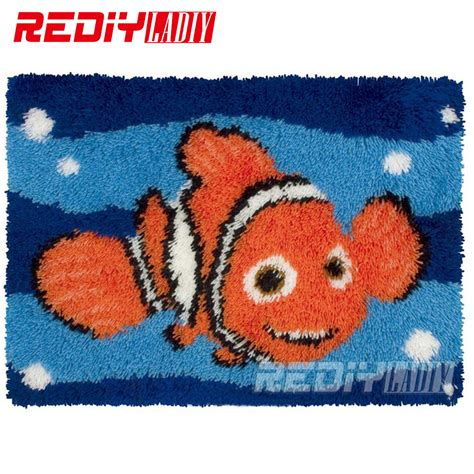 Rug Hooking Supplies Wholesale by Latch Hook Rug Kits Golden Fish Diy Needlework Unfinished Crocheting Rug Yarn Cushion Mat