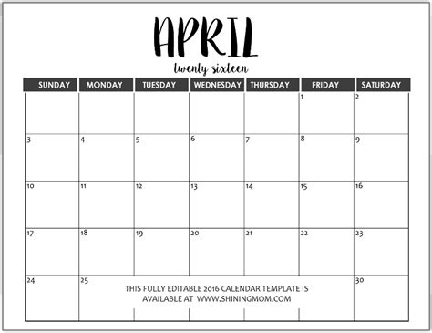 Calendar Of April Just In Fully Editable 2016 Calendar Templates In Ms Word