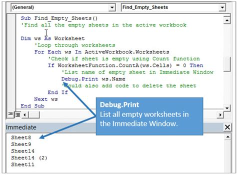 access vba delete table 5 ways to use the vba immediate window excel cus