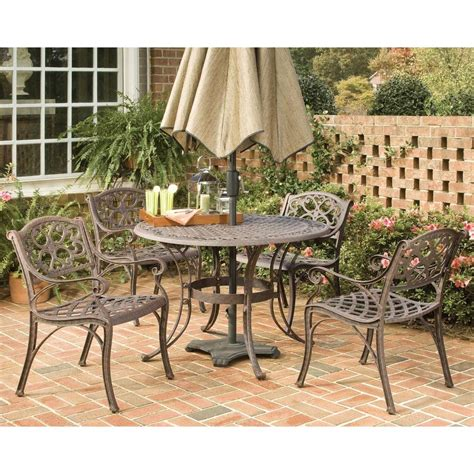 Home styles biscayne 48 in bronze 5 piece round patio dining set 5555 328 the home depot