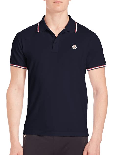 Polo Bb Stripe Navy Blue lyst moncler striped trim polo in blue for
