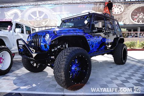 dark purple jeep 2014 sema all out off road purple blue flame black jeep jk