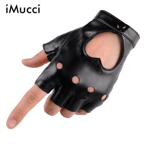 Finger Gloves imucci sale fashion half finger driving gloves 1 pair pu leather black fingerless