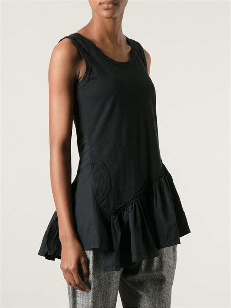 Ziggy Asimetris Top rundholz flared asymmetric blouse in black lyst
