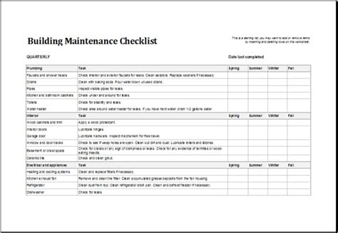 4 Facility Maintenance Checklist Templates Excel Xlts Building Maintenance Schedule Excel Template