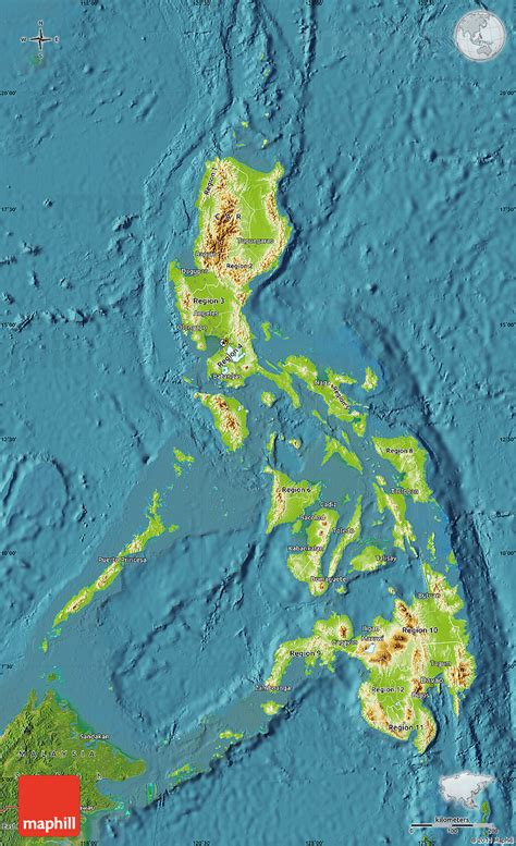 map philippines satellite physical map of philippines satellite outside