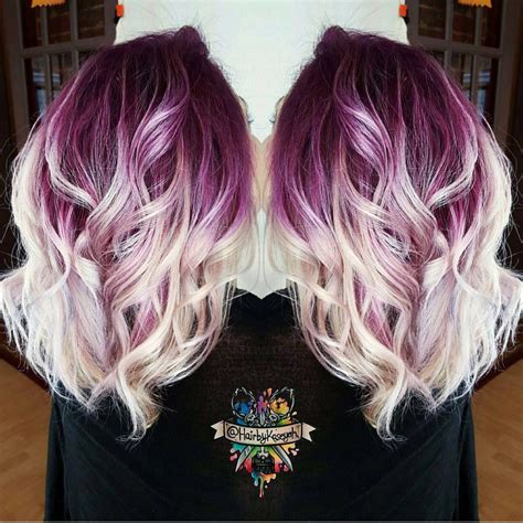 design roots instagram plum purple hair color base with billowy white blonde hair