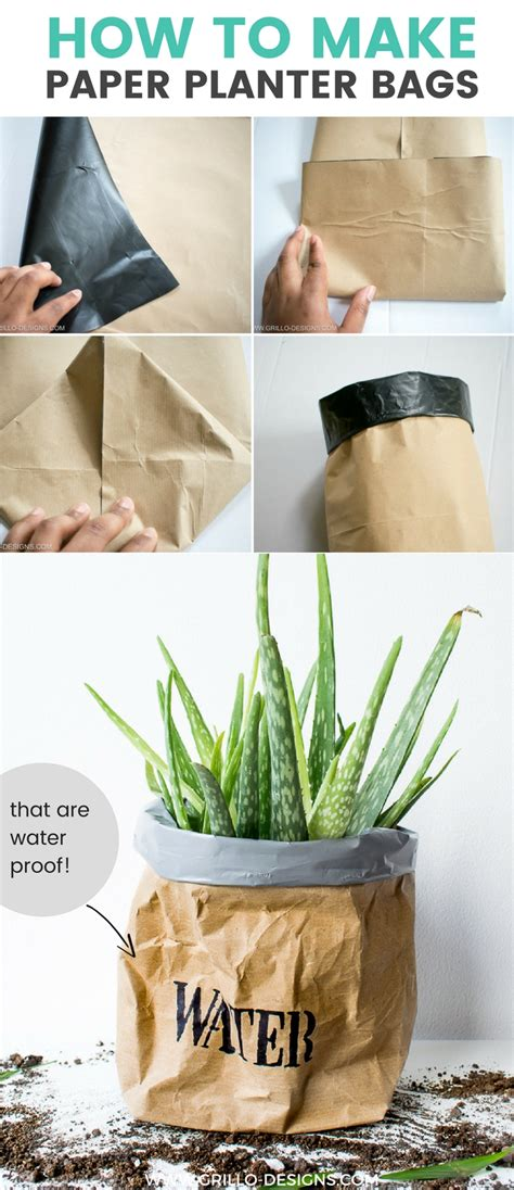 Easy Steps To Make Paper Bags - diy kraft paper planter bag tutorial grillo designs