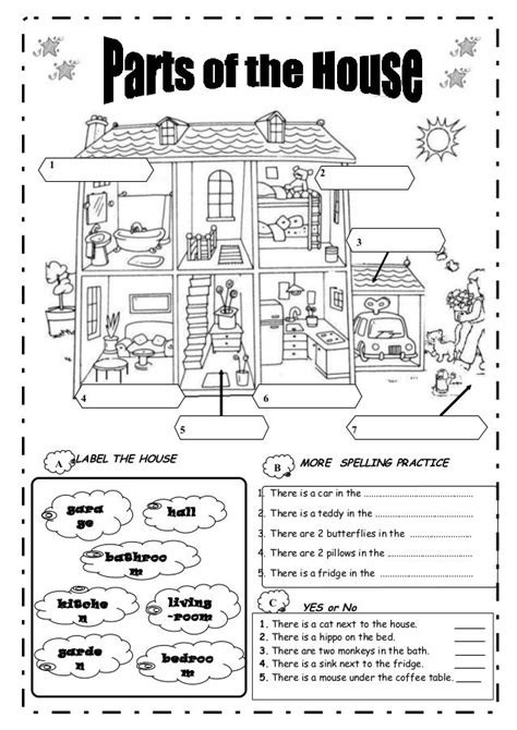 my house printable activities parts worksheet rooms of a house pinterest worksheets