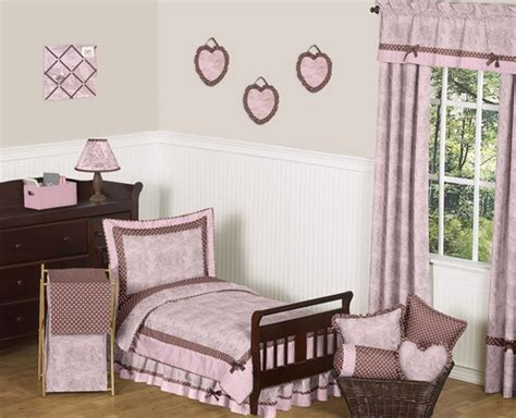 pink and brown french toile and polka dot toddler bedding