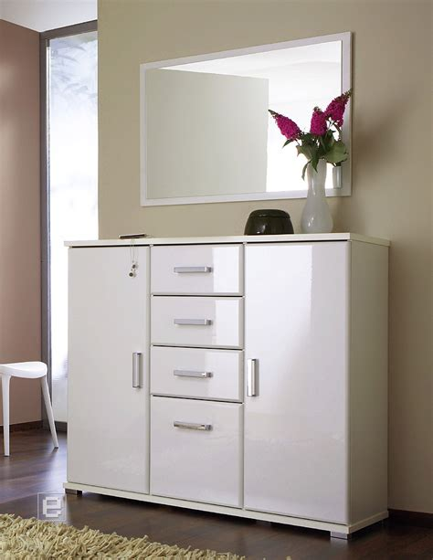 kommode garderobe 2 tlg garderobe set kommode spiegel hochglanz weiss ebay