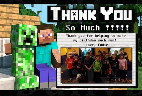 minecraft thank you card template 10 best images about minecraft birthday ideas on