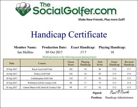 free golf handicap certificate template comfortable golf handicap certificate template photos