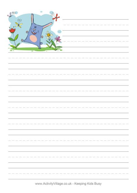 printable writing paper spring spring bunny writing paper