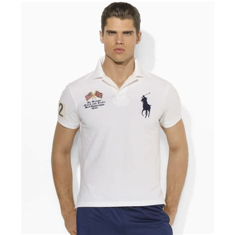 Kaos 05 Big Size ralph big and country mesh big pony polo shirt in white for lyst