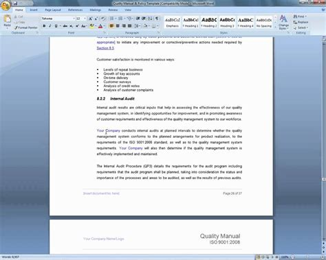 management system template iso 9001 quality manual template demonstration