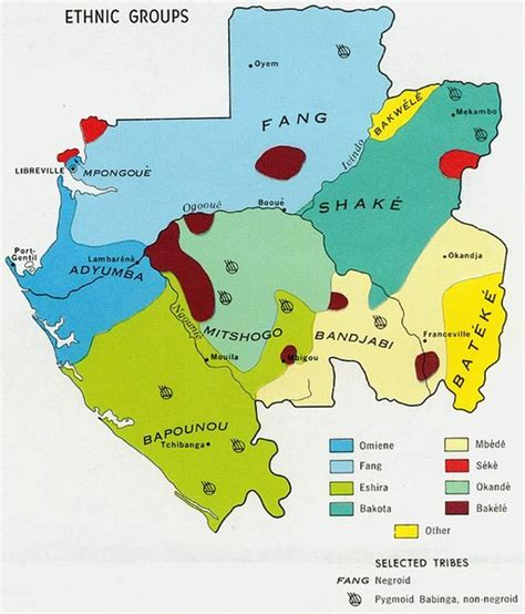gabon ethnic groups map mappery
