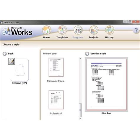 Resume Template Microsoft Works Word Processor Using Cv Templates For Microsoft Works