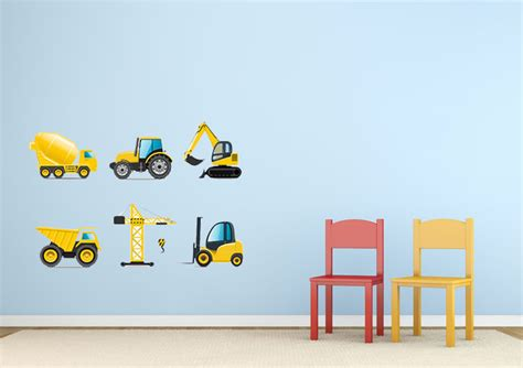 construction wall stickers construction childrens printed wall sticker