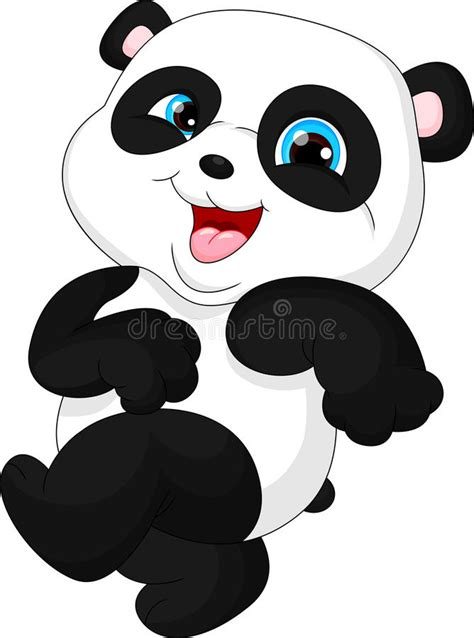 clipart divertenti panda divertente sveglio bambino illustrazione