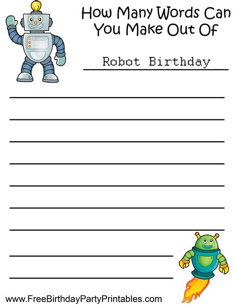 free robot birthday printables