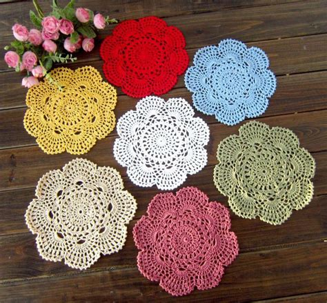 Crochet Table Mats - knitted crochet placemats handmade for table set doilies