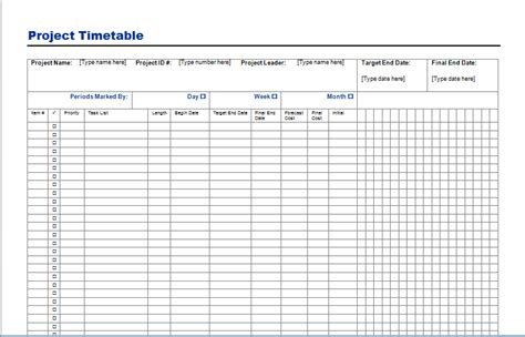 templates for projects project timetable template free layout format