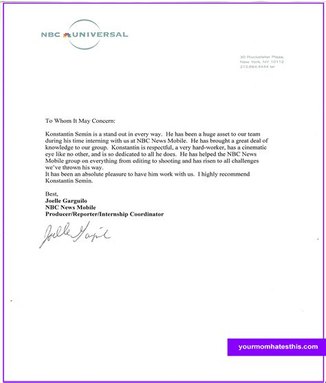 Letter Of Recommendation For Template letter of recommendation sles