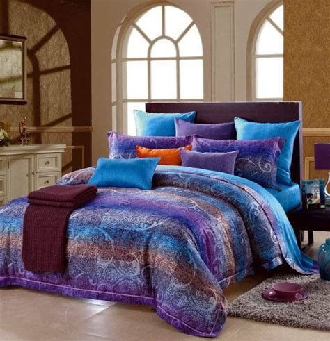 egyptian cotton blue purple striped luxury bedding
