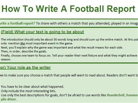 football match report template genre booklet how to write about football a match report