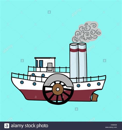 steamboat cartoon drawing cartoon flat steamship in the retro style old steamboat