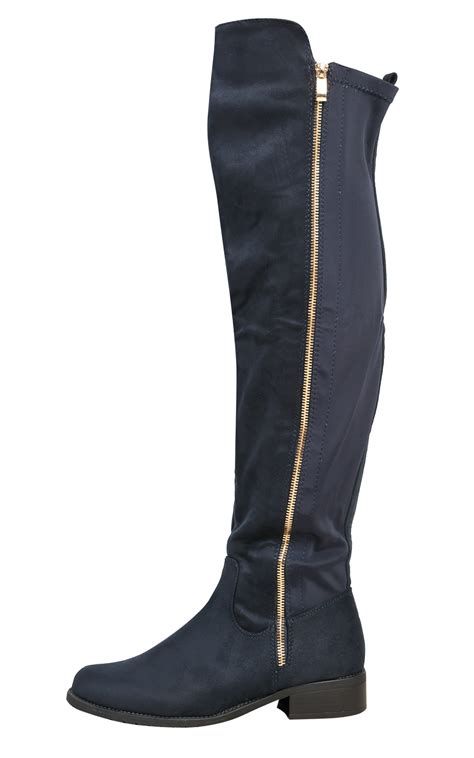 s stunning faux suede flat knee high boots ebay