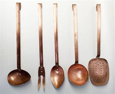 set of 5 vintage copper kitchen utensils large copper