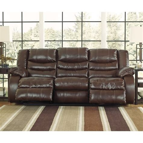 ashley linebacker sofa ashley linebacker leather reclining sofa in espresso 9520188