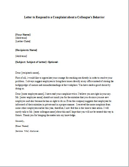 Complaint Letter For Coworker Sle complaint letter about colleague behavior 28 images