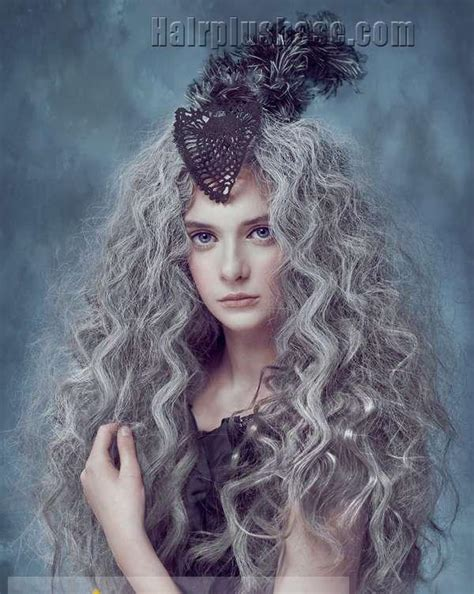 hairstyle for gray thin wavy hair 22 inch concise long gray curly chic wig hairstyle for women