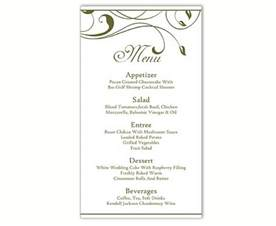 Template For Menu Card by Wedding Menu Template Diy Menu Card Template Editable Text