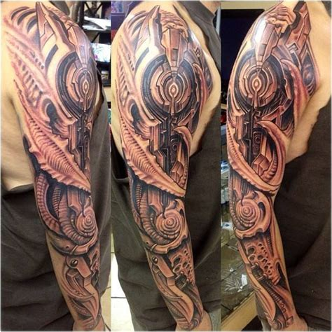 roman sleeve tattoo designs biomechanical on sleeve by abrego