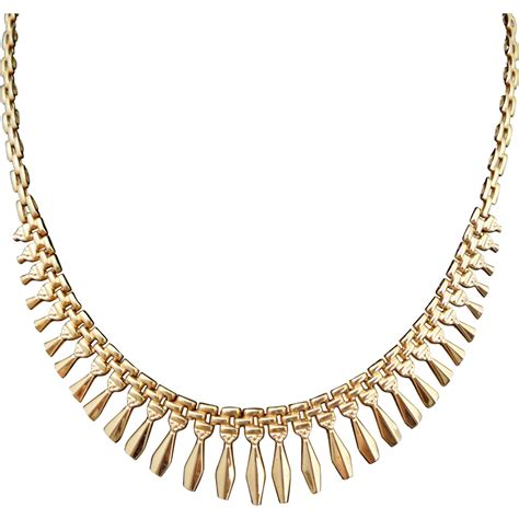 on hold estate 14k gold cleopatra revival fringe necklace from riverroadcollectibles on