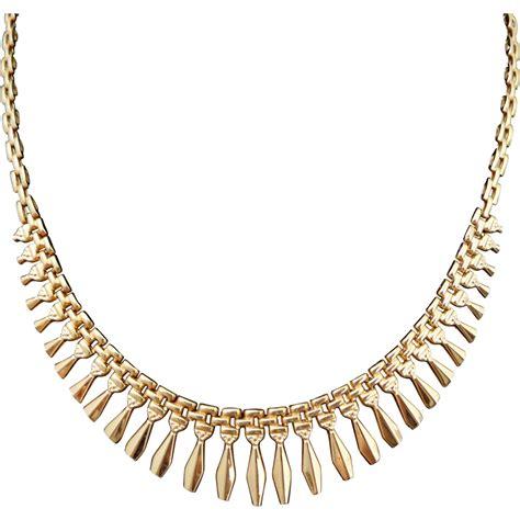 on hold estate 14k gold cleopatra revival fringe