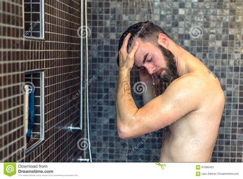 Washing Your In The Shower by Washing His Hair In The Shower Stock Photo