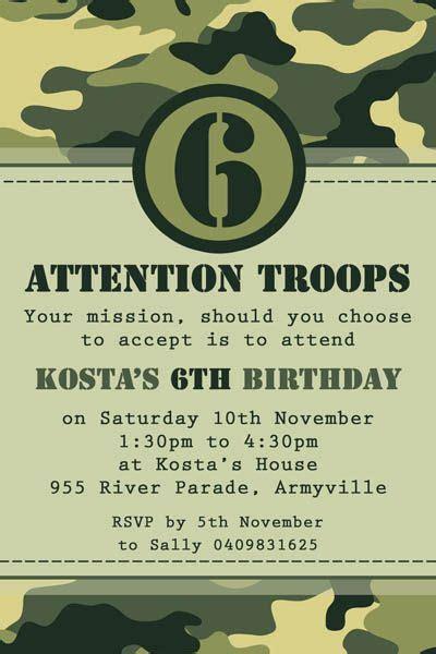 Army Birthday Card Template by Camo Army Invitation Time Army