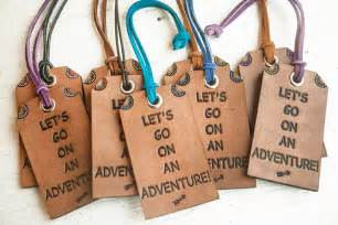 leather luggage tag travel themed bag tag lets go on an