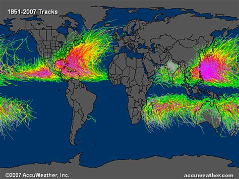 hurricane map when and where do hurricanes occur